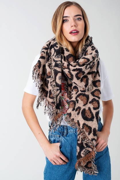 Leopard Bias Cut Fringed Shawl Scarf - orangeshine.com