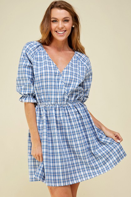 Plaid print surplice mini dress - orangeshine.com