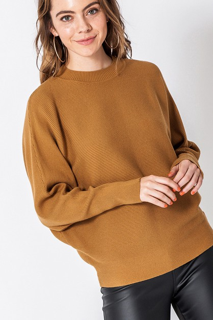 MOCK NECK DOLMAN SLEEVE SWEATER - orangeshine.com