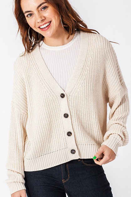 DROP SHOULDER V NECK CARDIGAN - orangeshine.com