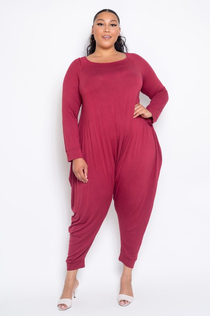Plus Size Boat Neck Harem Jumpsuit - orangeshine.com