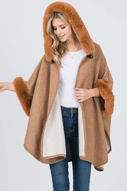 FAUX FUR TRIM PONCHO WITH HOOD - orangeshine.com