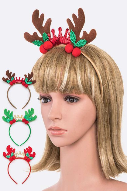 Antlers Holiday Headband Set - orangeshine.com