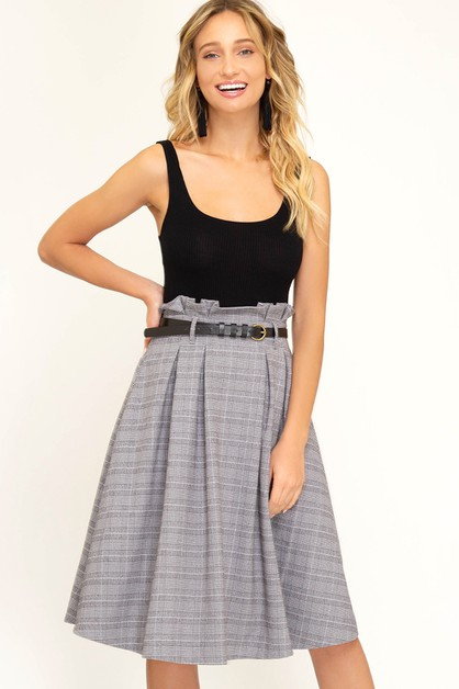 PAPERBAG PLAID MIDI SKIRT - orangeshine.com