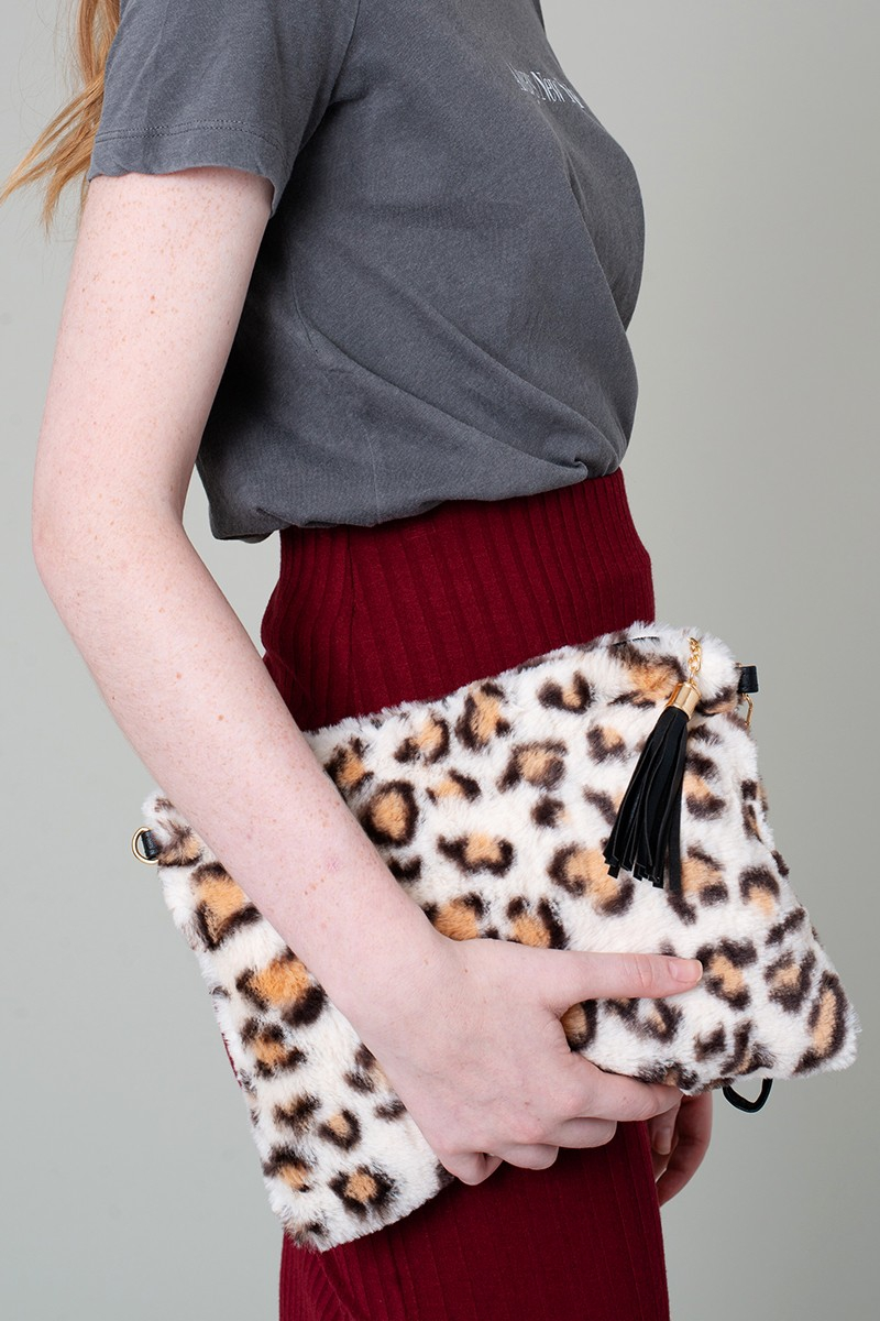 Leopard Fur Crossbody Clutch Bag - orangeshine.com