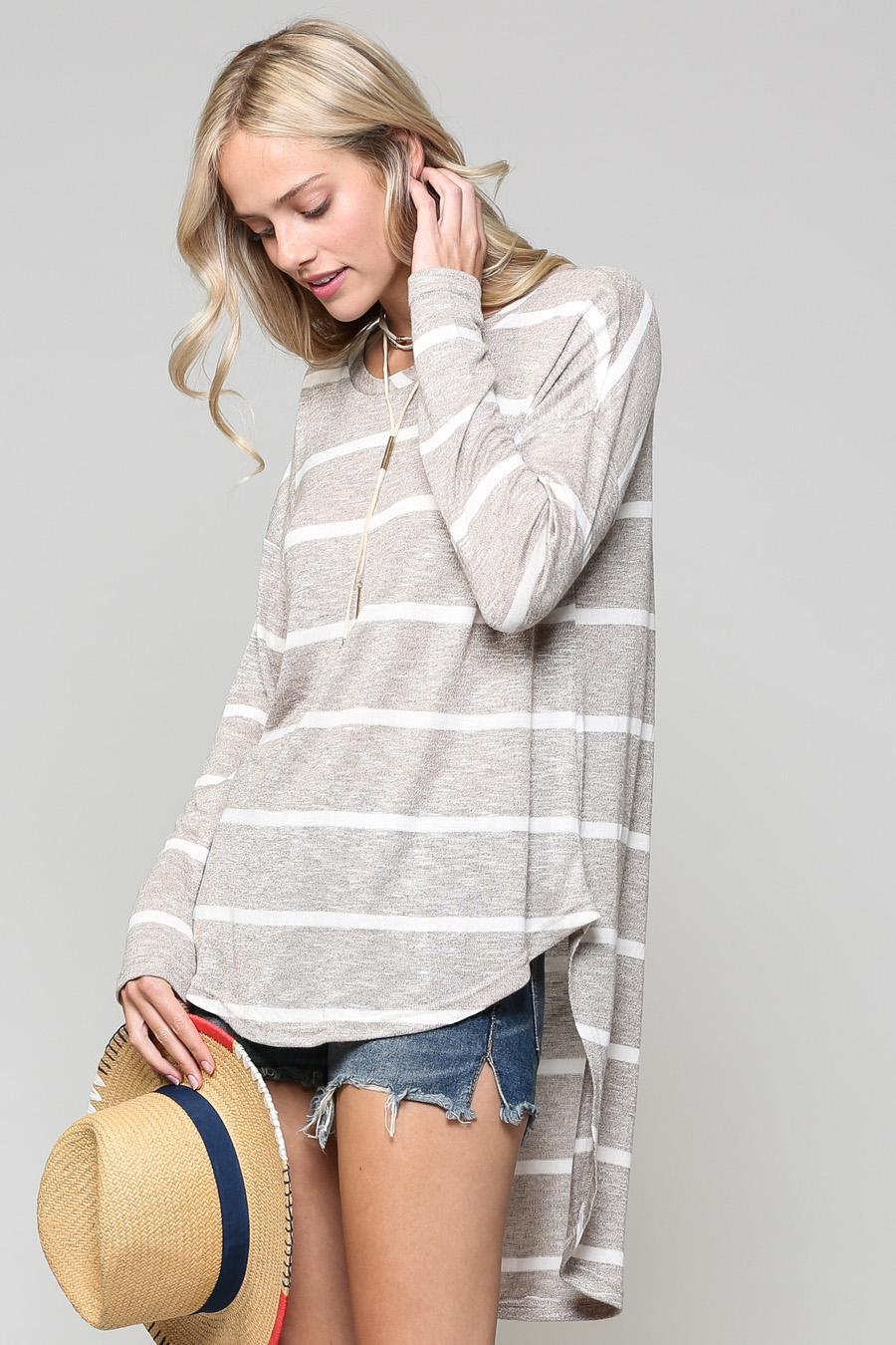 OVERSIZED STRIPE HIGH-LOW TOP - orangeshine.com