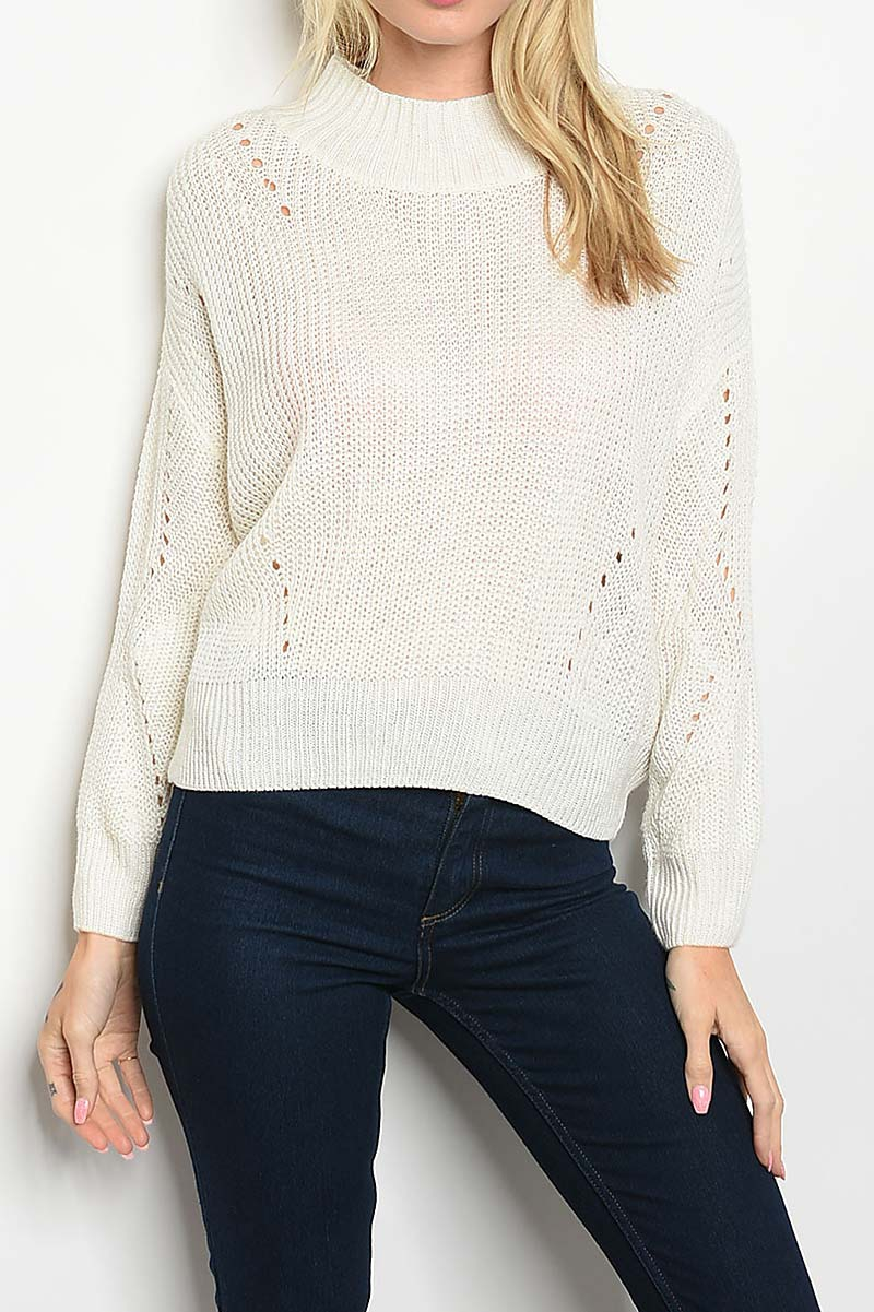 OPEN DETAIL CREW NECK SWEATER  - orangeshine.com