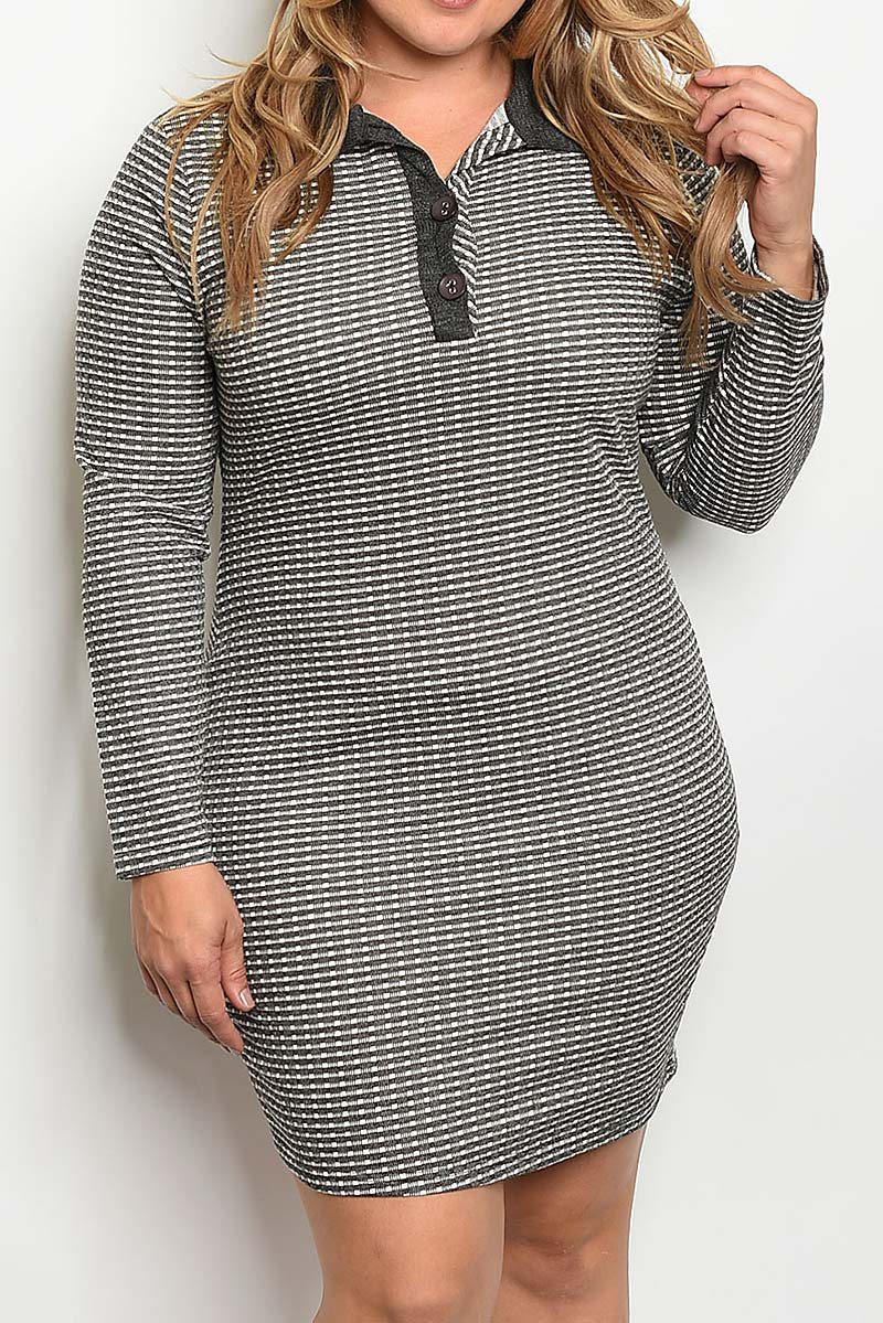 CONTRAST COLLARED PLUS SIZE DRESS - orangeshine.com