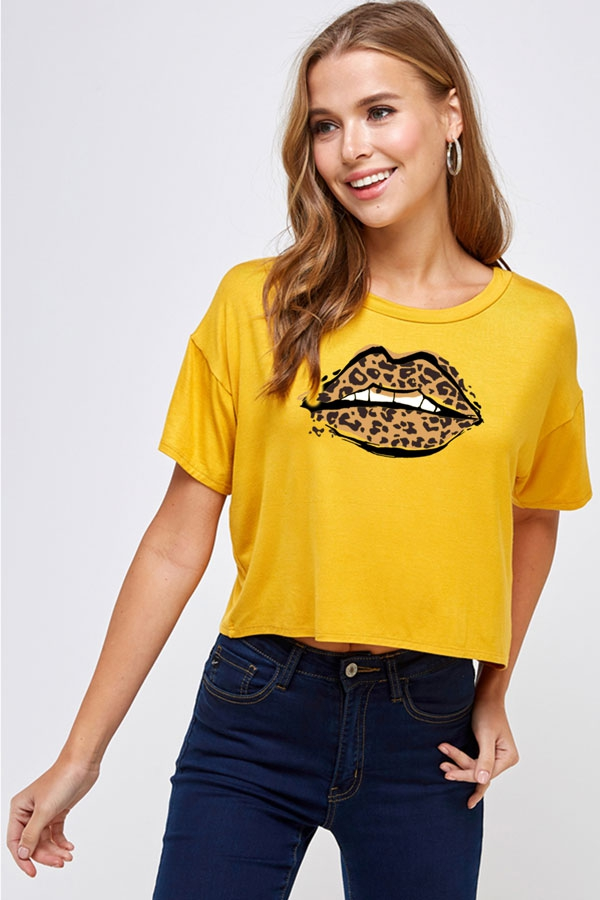 Leopard Lip GRAPHIC Crop Top  - orangeshine.com