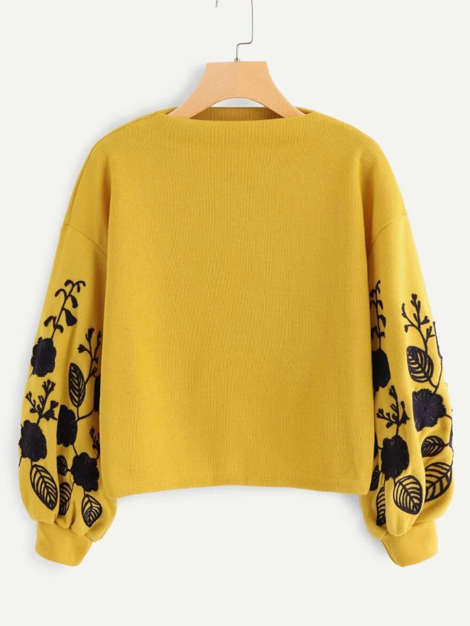 Floral Embroidered Sleeve Sweatshirt - orangeshine.com
