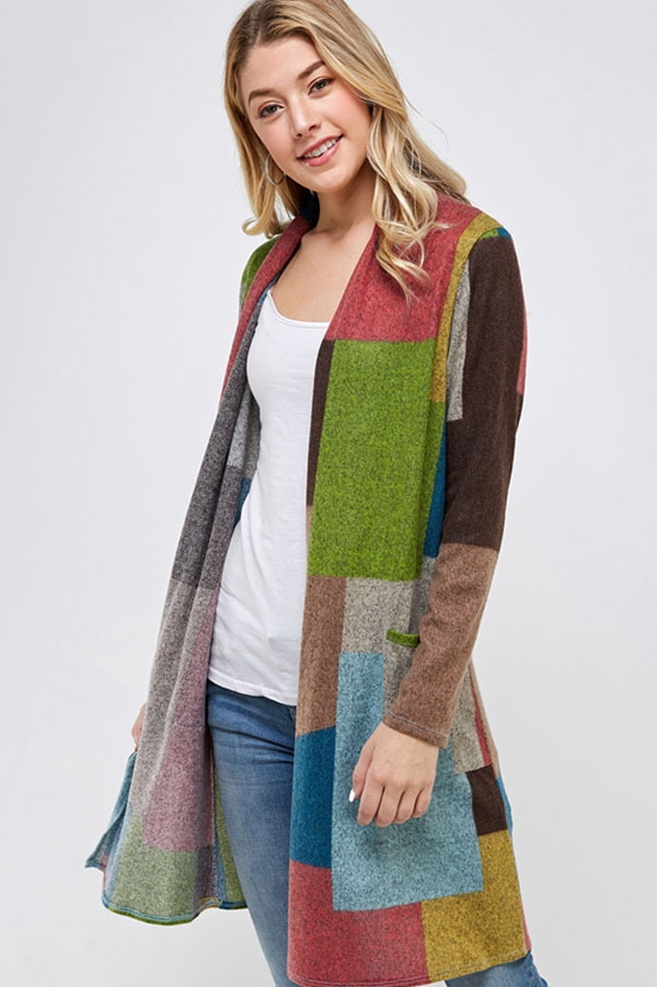 Multi Color Patchwork Long Cardigan  - orangeshine.com