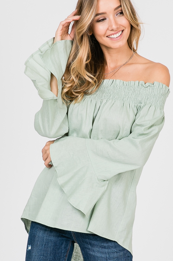RUFFLED SLEEVE SOLID OFF SHOULDER TO - orangeshine.com