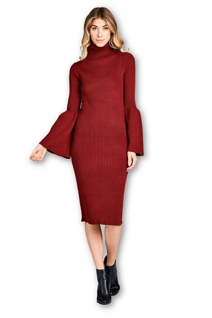 Turtleneck Dress with Bell Sleeve - orangeshine.com