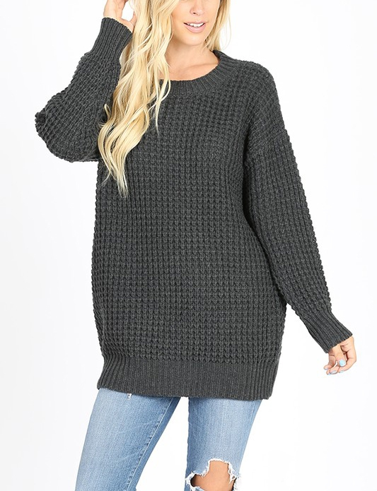 LONG SLEEVE ROUND NECK HEAVY SWEATER - orangeshine.com