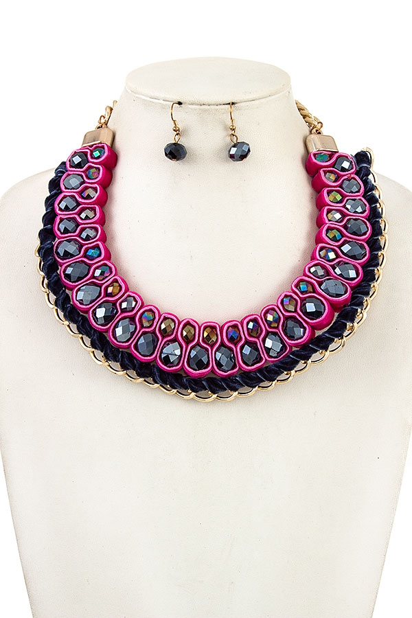 WOVEN VELVET BALL BEAD NECKLACE SE - orangeshine.com