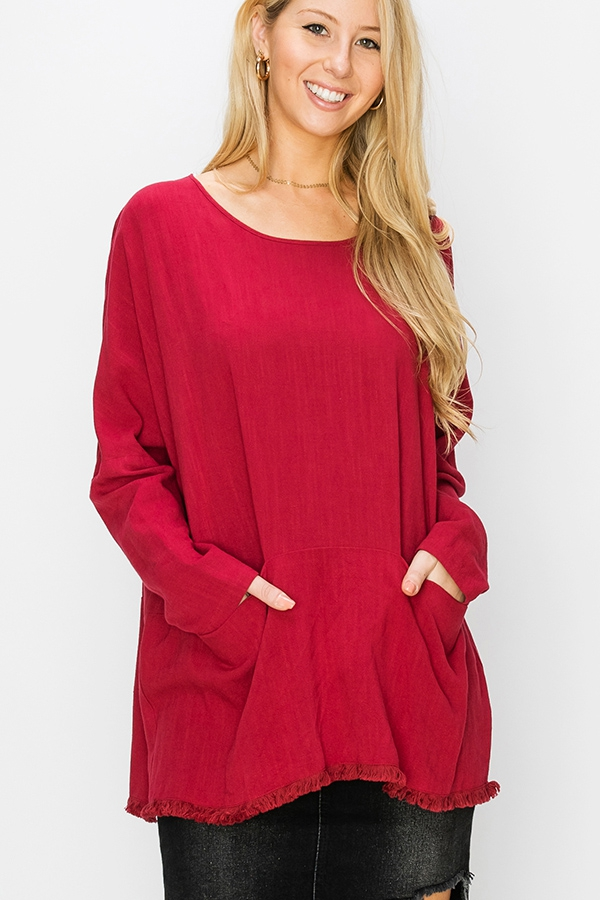 ROUND NECK LONG SLEEVES POCKET TOP - orangeshine.com