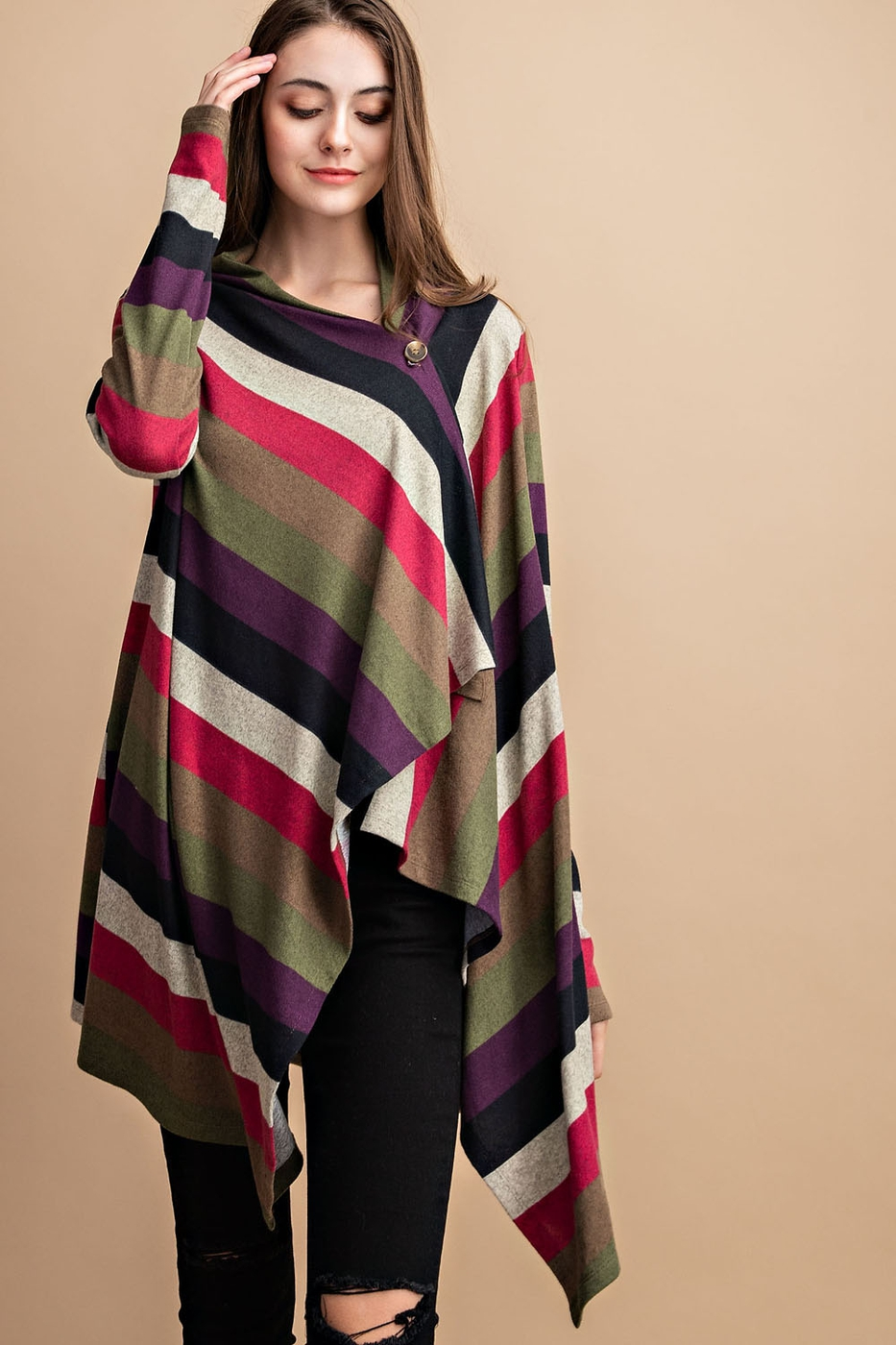 MULTI COLOR STRIPE CARDIGAN - orangeshine.com