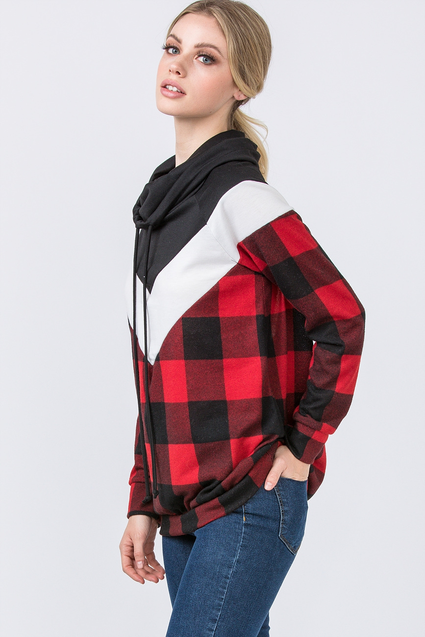 COLOR BLOCK PLAID PULLOVER - orangeshine.com