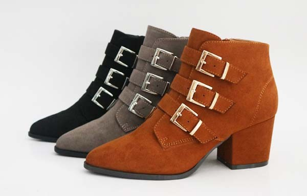 WOMENS BUCKLE STRAP HEELED BOOTIES - orangeshine.com