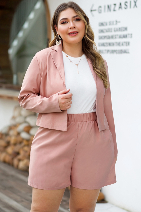 long sleeve jacket plus size set - orangeshine.com