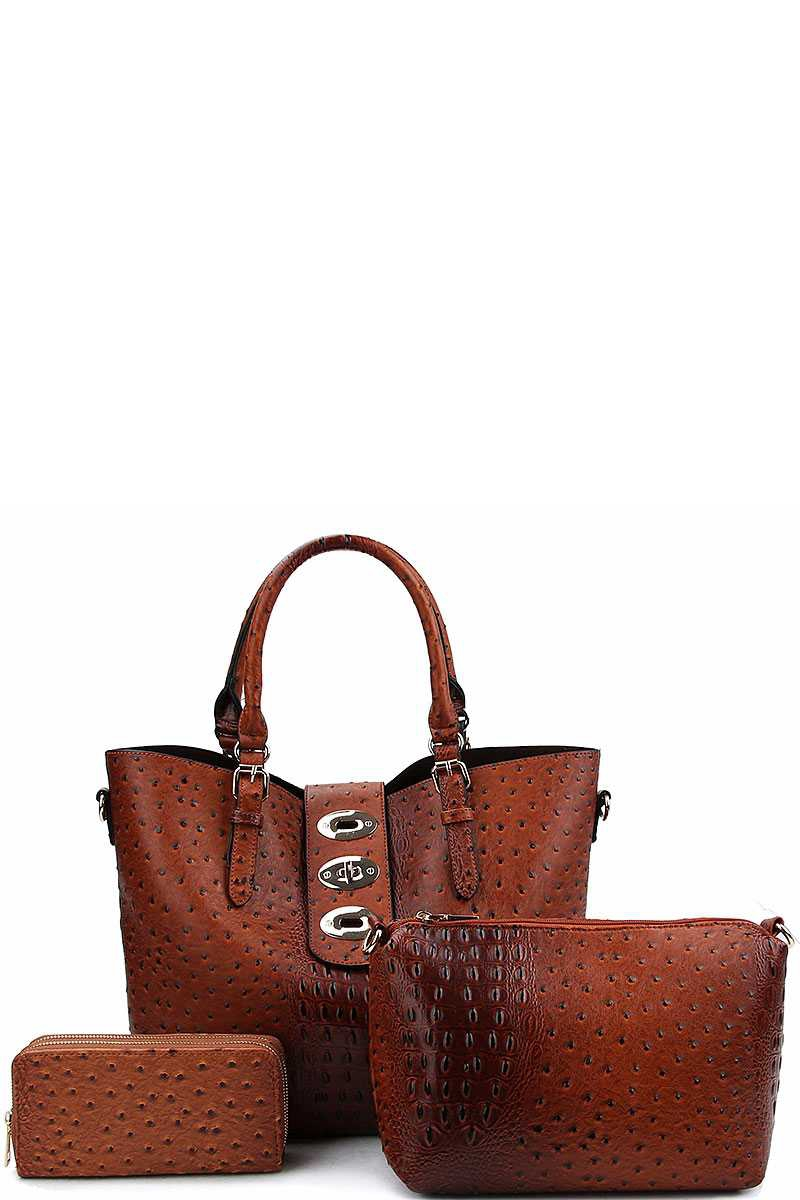 3IN1 CROCO PATTERN SATCHEL - orangeshine.com