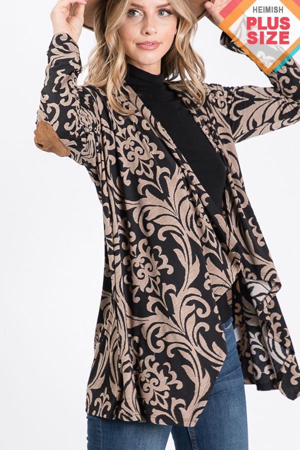 PLUS DAMASK PRINT DRAPED CARDIGAN - orangeshine.com