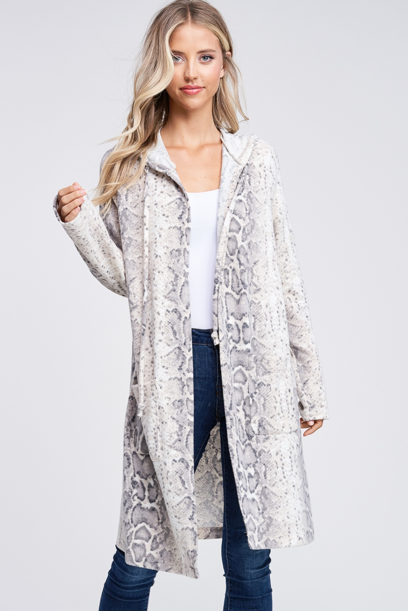 Long Sleeve Snake Print Cardigan - orangeshine.com