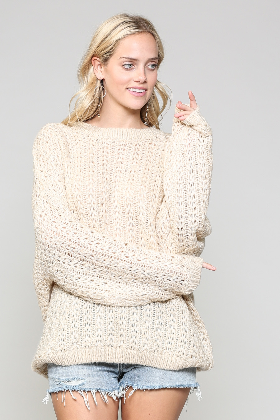 TEXTURED OVERSIZED CHRCHET SWEATER - orangeshine.com
