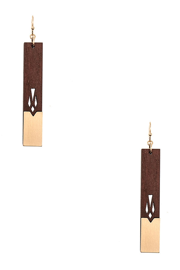 WOODEN BAR CUT OUT DROP EARRING - orangeshine.com