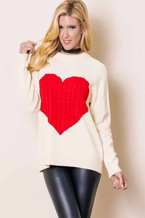 CABLE KNIT HEART LONG SLEEVE PULLOVE - orangeshine.com