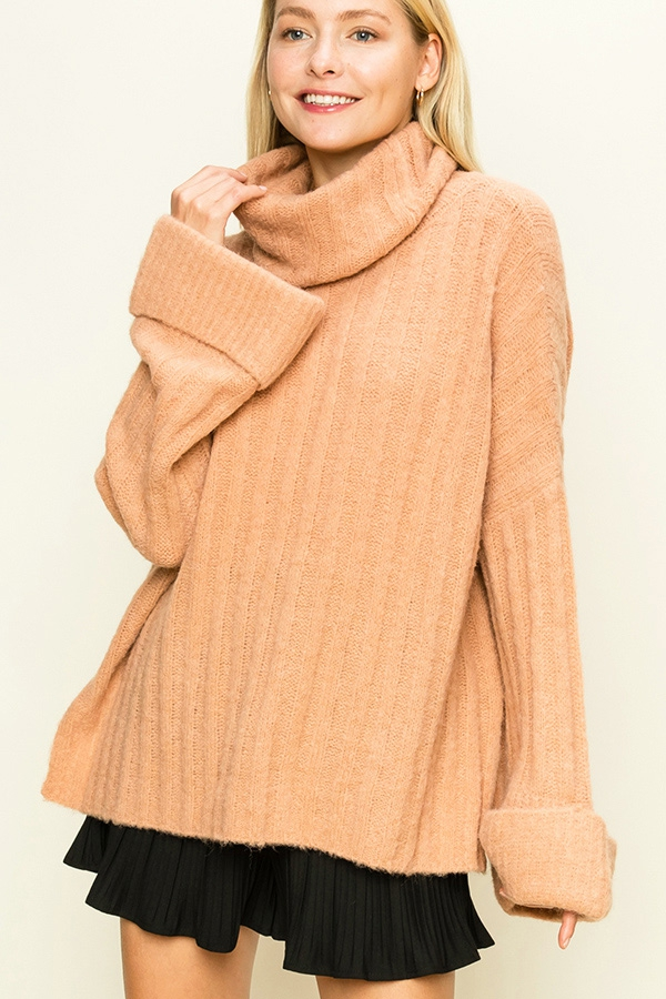 DROP-SHOULDER TURTLENECK SWEATER - orangeshine.com