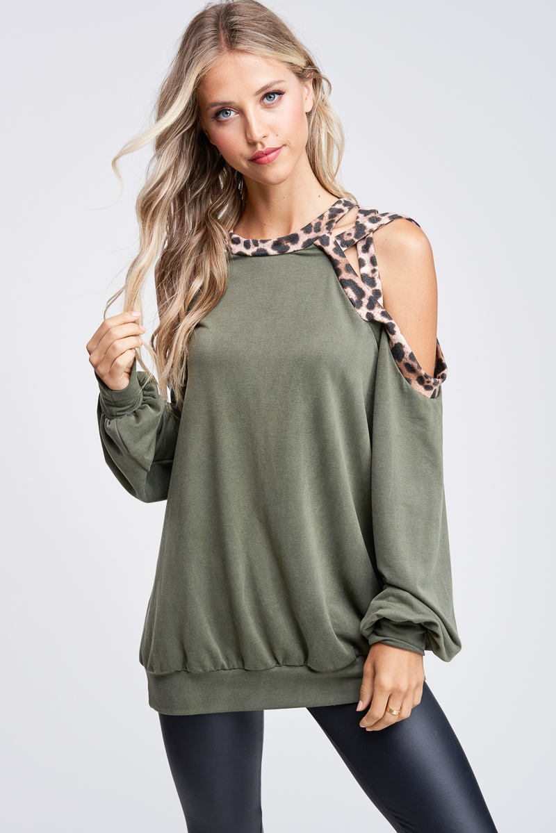 Strappy Cold Shoulder Solid Knit Top - orangeshine.com