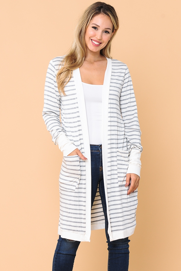 MIDI STRIPE OPEN CARDIGAN  - orangeshine.com