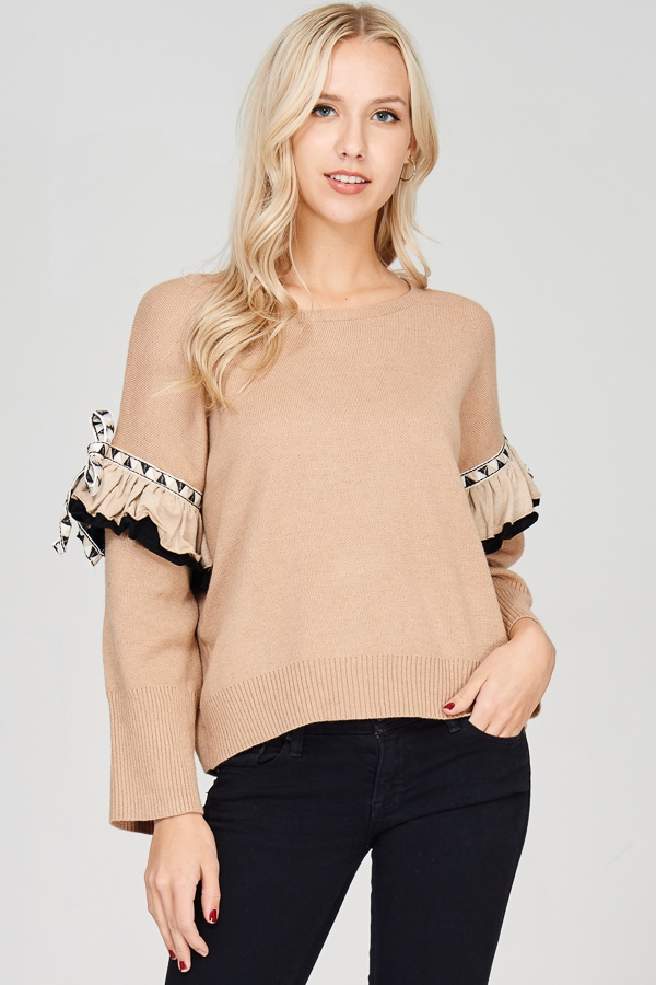 KNIT TOP WITH RUFFLED SLEEVES  - orangeshine.com