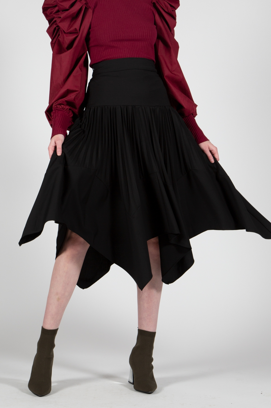 Handkerchief Hem Midi Length Skirt - orangeshine.com
