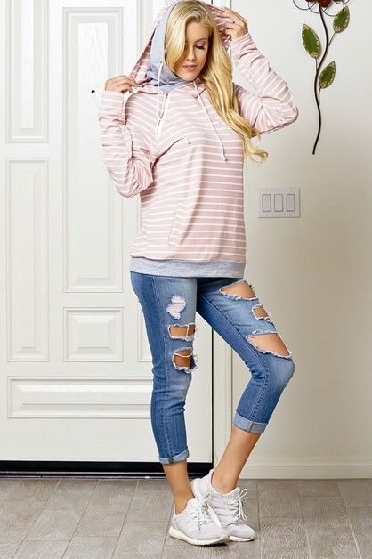 BLUSH WHITE STRIPE LONG SLEEVE LIGHT - orangeshine.com