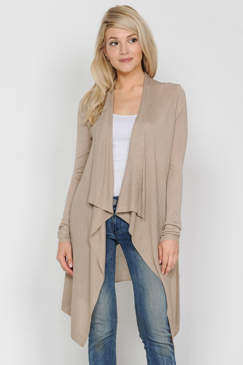 Draped Collar Open Front Cardigan - orangeshine.com
