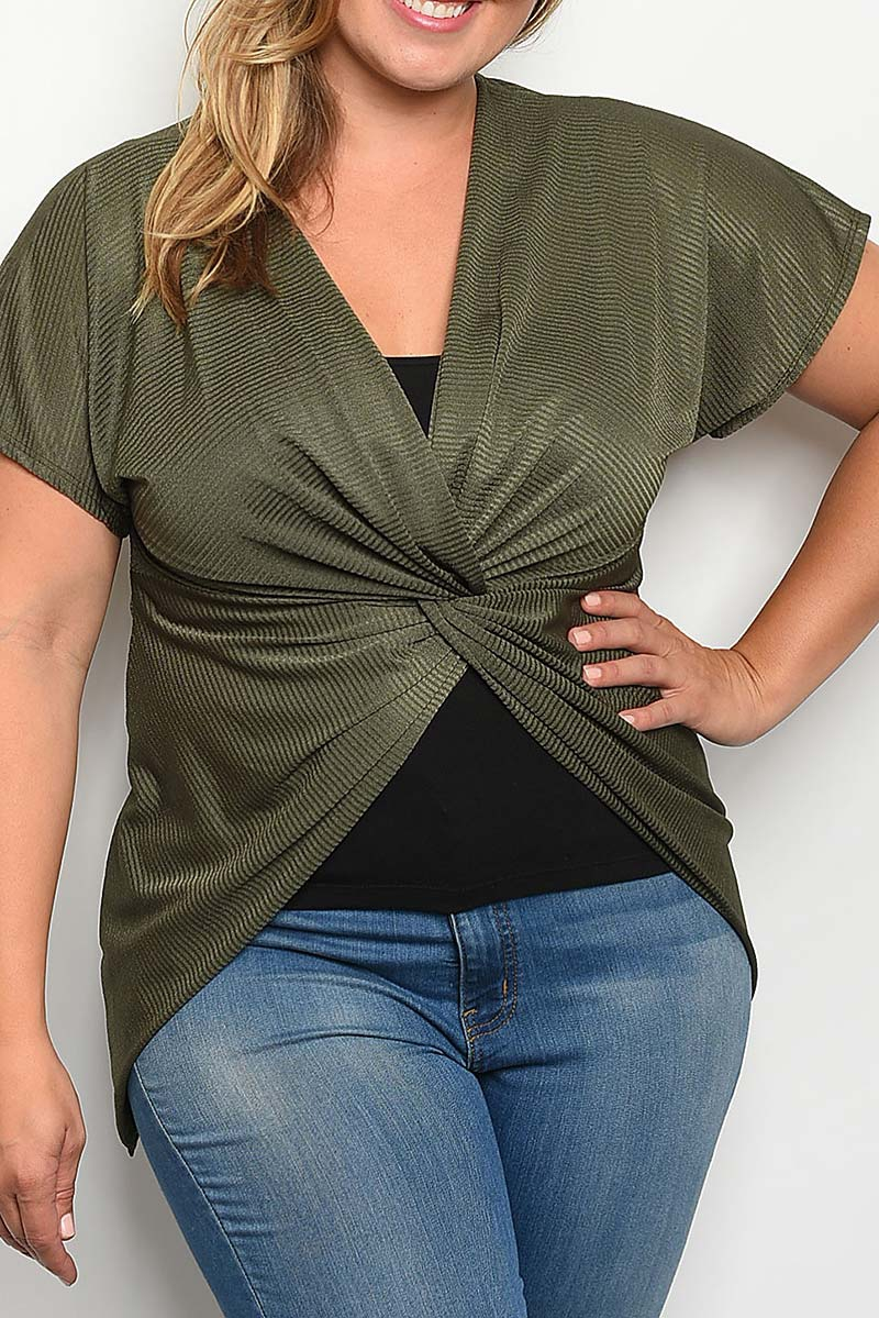 V NECK HI LO TWIST FRONT TOP  - orangeshine.com