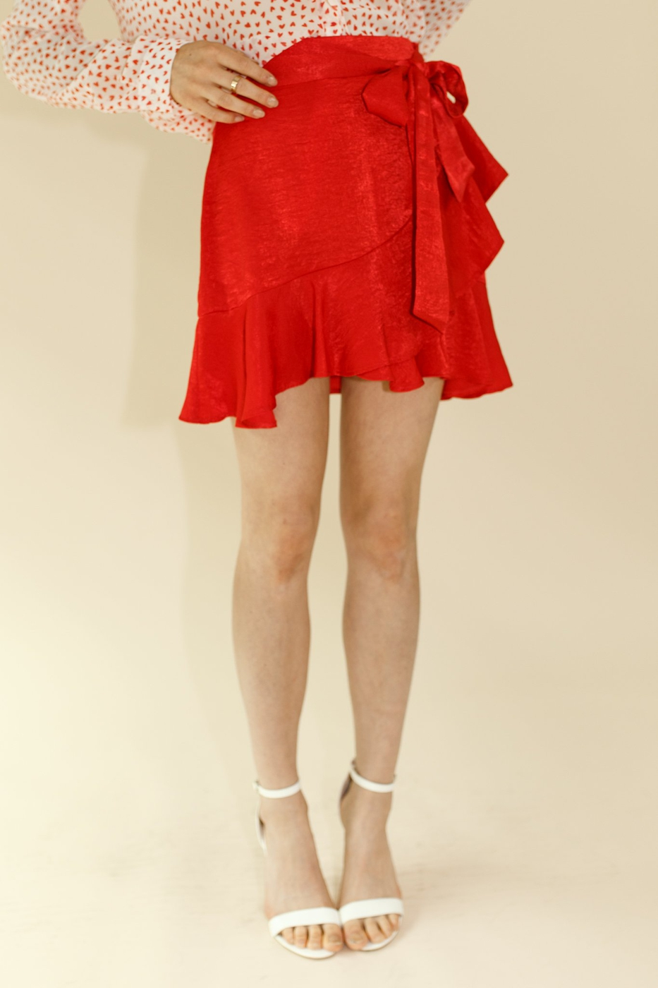 RUFFLE EDGE BOW TIE SATIN SKIRT - orangeshine.com