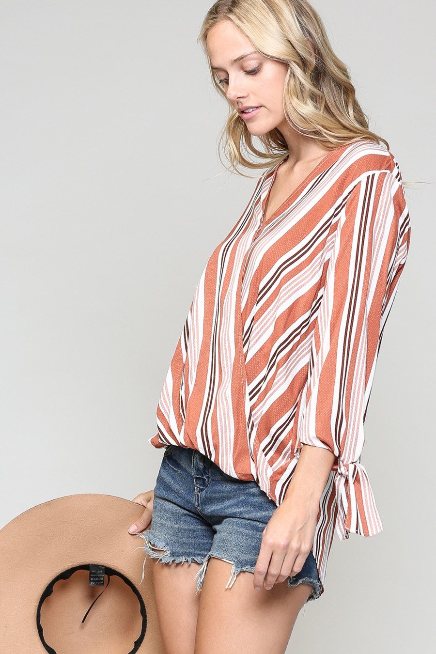 LOOSEFIT STRIPED BLOUSE WITH OVERLAP - orangeshine.com