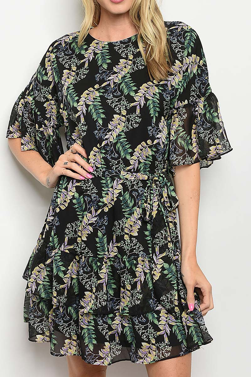 BELTED LEAVES PRINT FLARE DRESS - orangeshine.com