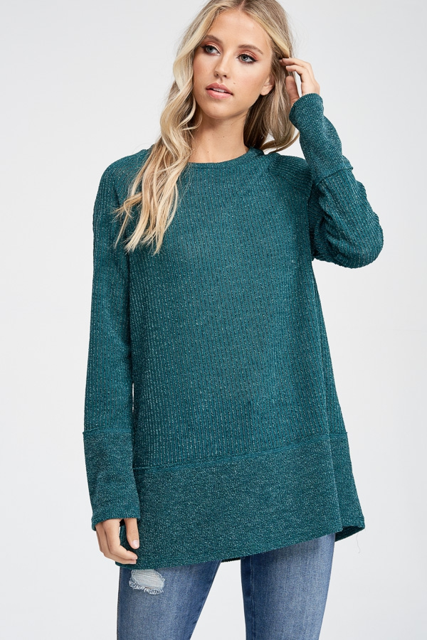 Long Sleeve Solid Knit Sweater - orangeshine.com