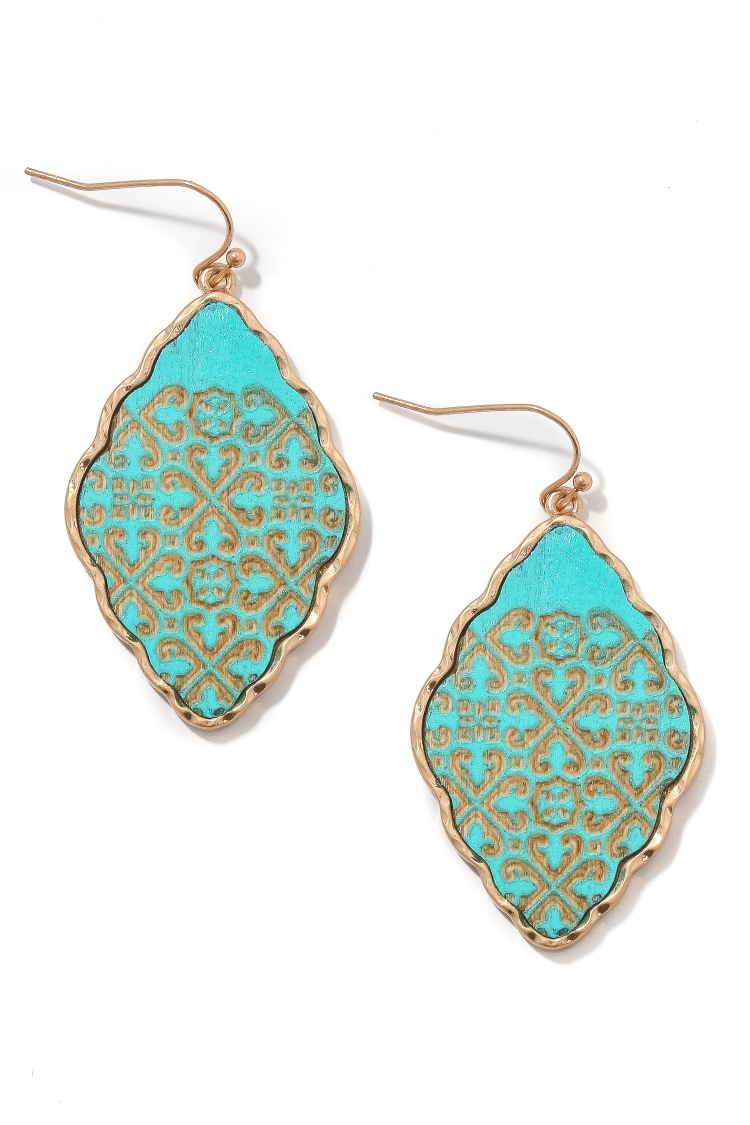 Filigree Oval Charm Drop Earrings - orangeshine.com