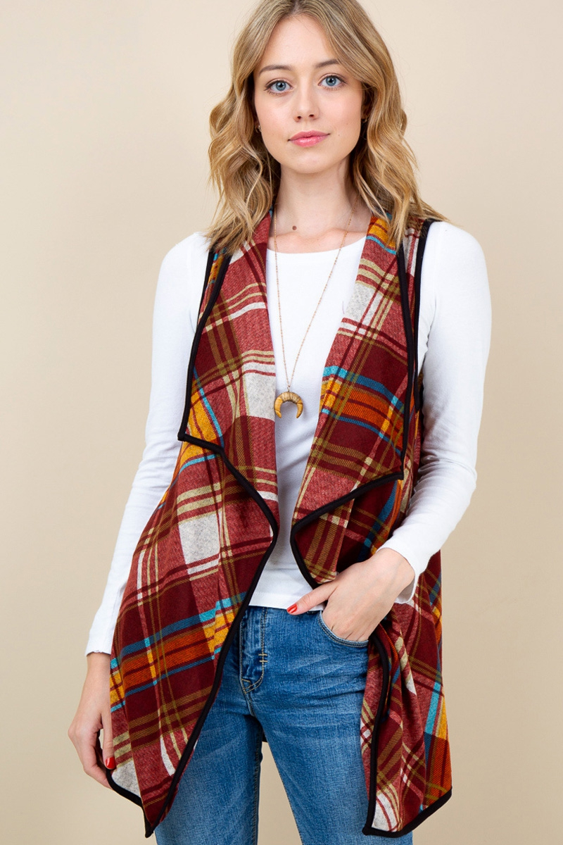 PLAID PRINT DRAPED VEST - orangeshine.com