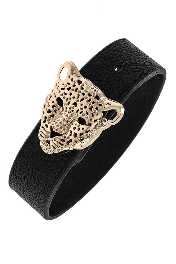 LION HEAD FAUX LEATHER BRACELET - orangeshine.com