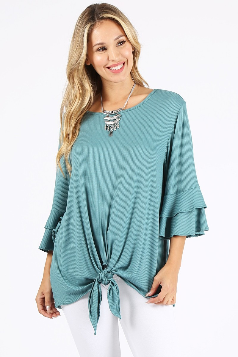 Solid top with layered sleeves  - orangeshine.com
