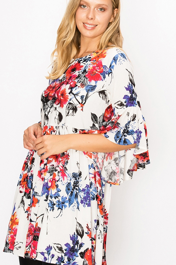 BAT WING FLORAL PRINT BABYDOLL DRESS - orangeshine.com