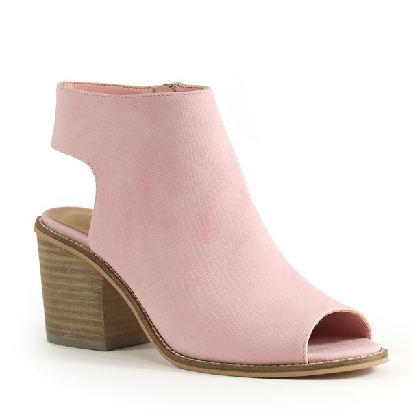 CASUAL BACK CUTOUT BLOCK HEEL BOOTIE - orangeshine.com