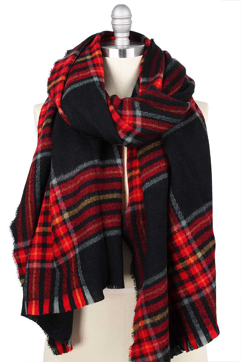 PLAID OVERSIZED SHAWL SCARF - orangeshine.com