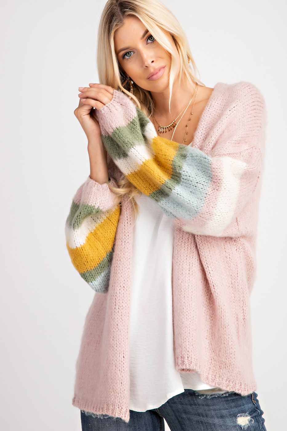 COLOR BLOCK PUFF SLEEVE CARDIGAN - orangeshine.com